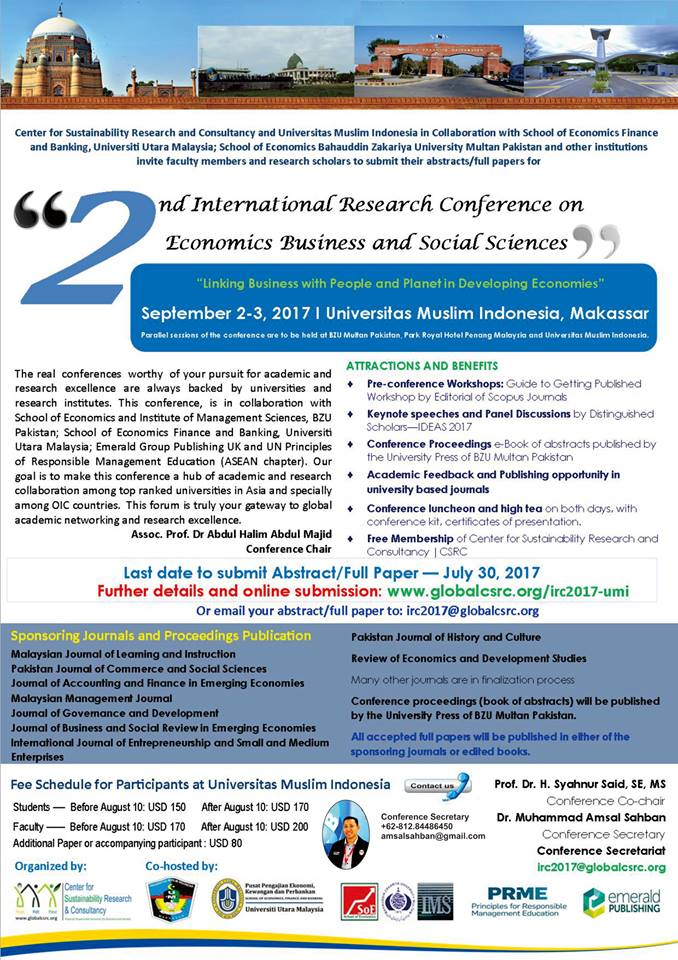 2nd International Research Conference on Economics Business and Social Sciences