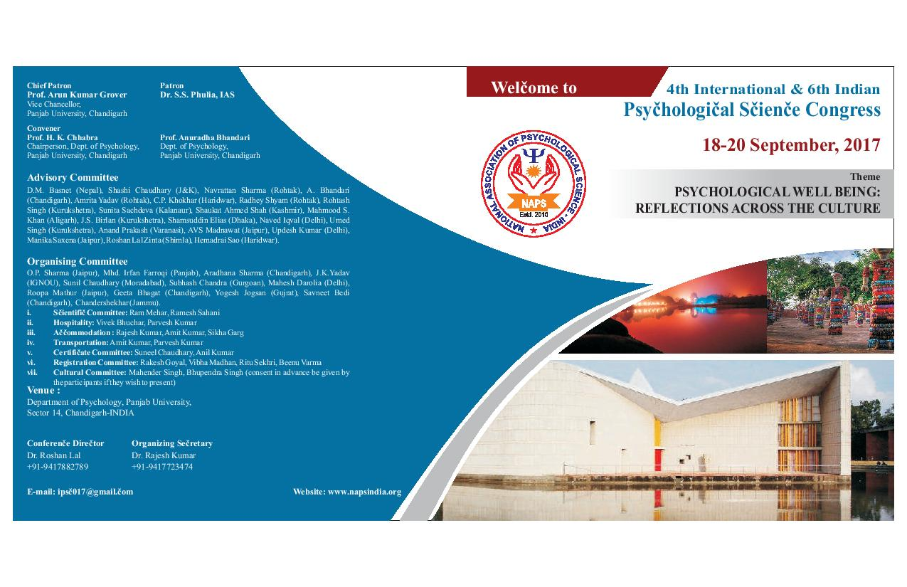 4TH INTERNATIONAL AND 6TH INDIAN PSYCHOLOGICAL SCIENCE CONGRESS